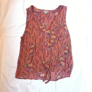 Lucky Brand Sheer Sleeveless Blouse Top with Tie